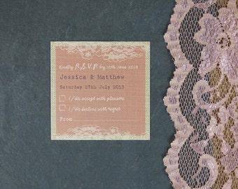 Blush Vintage Lace Personalised Wedding RSVP