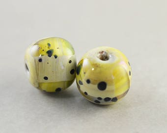 Artisan Lampwork Olive Green Beads, Sage Green 12mm Glass Beads