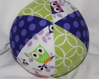 Lavender and Green Owls Boutique Ball Rattle Toy