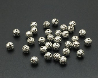 30pcs Antique Silver Beads ,8mm Tibetan Style Beads ,  Metal Beads ,Wholesale Beads