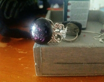 Black handmade glass cabochon and glitter purple dichroic glass fused with lace setting ring