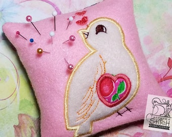 "Sweet Finch In the Hoop Pincushion - Machine Embroidery Design. 4x4"" Hoop Instant Download."