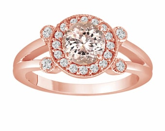 Pink Peach Morganite Engagement Ring 14K Rose Gold 1.03 Carat With Side Diamonds Unique Halo Pave Handmade Certified