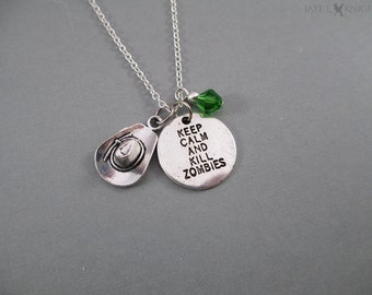 Rick Grimes Keep Calm and Kill Zombies Hat Necklace - Carl - The Walking Dead - Silver Charms