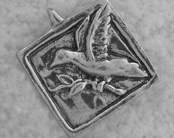 Green Girl Studios Peace Dove Pewter Pendant Charm