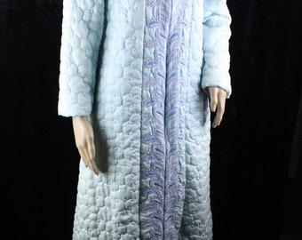 Vintage 70s Sears at Home Wear Blue Quilted Robe Zipper Front Yellow