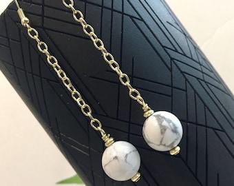 White Marble Chain Drop howlite Minimalist Earrings
