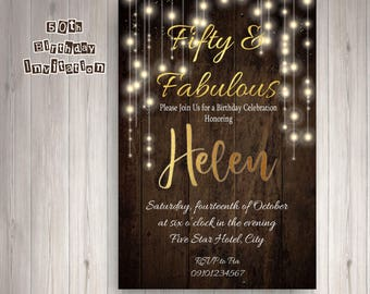 Rustic Theme Invitation for Birthday, Printable, Digital File Only
