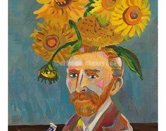 Vincent's Sunflowers • art print • giclee • Van Gogh • floral • flowers • whimsical • flower vase art series • portrait • art history • gift