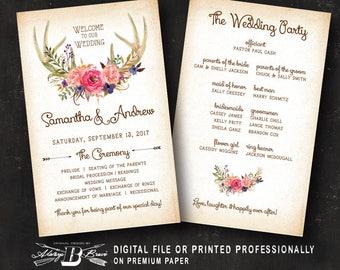 Deer wedding program Etsy