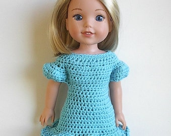 """14.5"""" Doll Clothes Turquoise Dress Handmade to fit the Wellie Wishers doll and other similar dolls - Turquoise Crocheted Dress"""