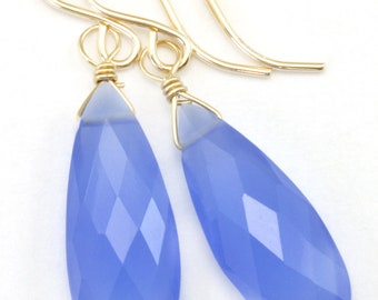 Periwinkle Chalcedony Earrings AAA  faceted Long Teardrop 14k Solid Gold or Filled or Sterling Silver purple blue color simple natural drops