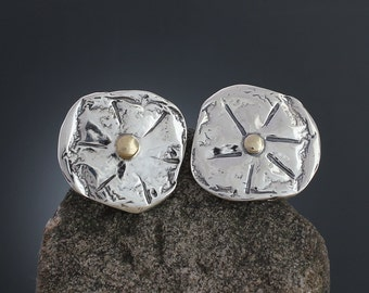 Sand Dollar Sterling Silver and Gold Large Earrings - Mixed Metal - Gold Accent - Statement Earrings - Silver Disk Earrings - Sherry Tinsman