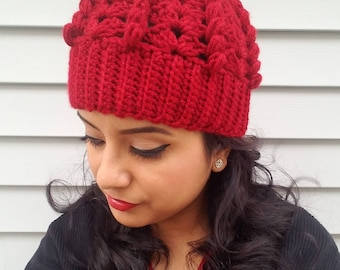 Crochet puff cluster stitch hat Crochet beanie women crochet hat Winter hat