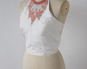 Stunning vintage Silk halter neck embellished top