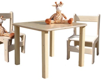 Children's seating group - children's furniture - table and 2 chairs - natural