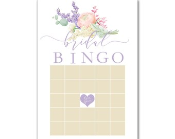 Set of 12 Bridal Wedding Shower Bachelorette Party Bingo Game Cards with Watercolor Spring Lilacs Flowers in Lavender BBG8028