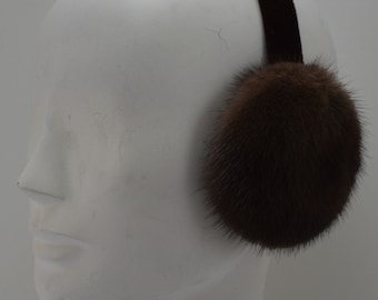 Brown Mink Fur Earmufs Demi-buff new made in usa
