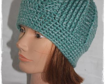 Women crochet hat. Woman hat. Thick by brides relief pattern.