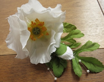 White Poppy Corsage, Wedding, Prom, Anniversary, Homecoming.
