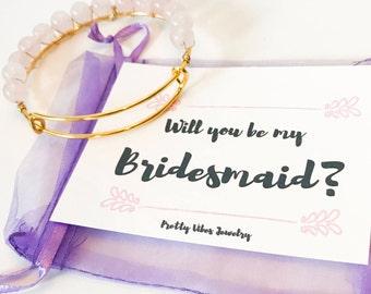 Will You Be My Bridesmaid / Bridesmaid Bracelet / Bridesmaid Proposal / Maid of Honor Jewelry/ Wedding Jewelry / Rose Quartz