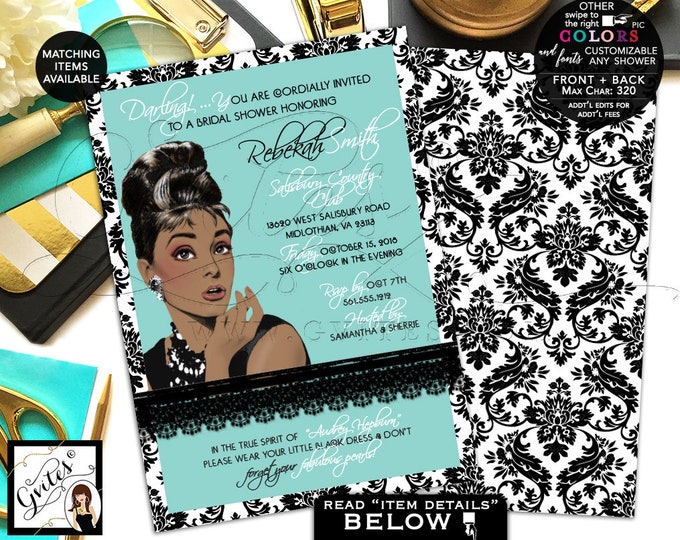 "Audrey Hepburn Bridal Shower Invitation, African American, Breakfast at and co themed, diamonds pearls, 5x7"" double sided."