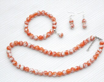 Orange pearl necklace, orange bridesmaid, summer wedding, orange wedding, bridesmaid gift, orange jewelry, Christmas gift, birthday gift