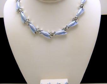 Vintage Kramer Iridescent Ice Blue Thermoset AB Rhinestone Necklace Earrings Set