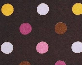 Minky fabric, velvet fabric polka dot jumbo chocolate coupon mango