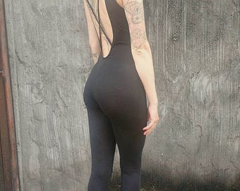 Low Back Tank Top Catsuit with Sinched Ankles
