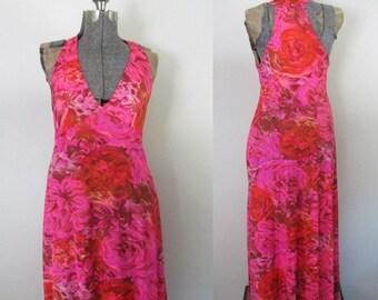 Vanity Fair Racer Back Floral Gown // Mid Century 1960s Lingerie Maxi Slip Dress