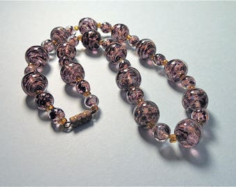 Vintage 1950s Purple Sommerso Venetian Glass Bead Necklace (No. 1431)