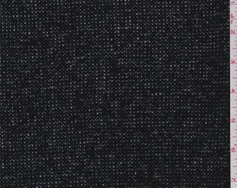 Jet Black Wool Blend Sweater Knit, Fabric By The Yard