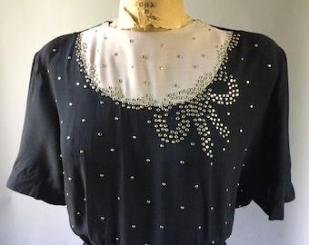 Shimmering 1940s Black & Mauve Studded Peplum Party Dress Big Bow Motif Belted