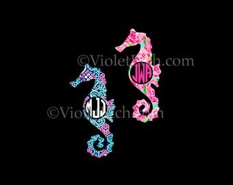 Seahorse Decal-Circle Monogram Decal-Seahorse Monogram Decal-Yeti Decal-WindowDecal