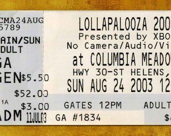 LOLLAPALOOZA  Concert Ticket Stub, Portland, OR 2003
