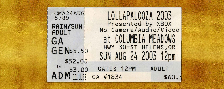 Description LOLLAPALOOZA Old Concert Ticket