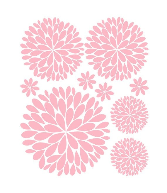 sc 1 th 241 & Flower Wall Decals | Another Bunch of Dahlia Flowers Vinyl Wall Decal