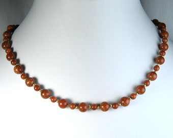"""Goldstone Necklace Gold 20"""""""