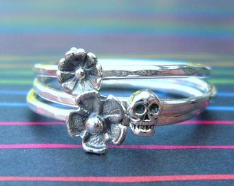 Sterling Silver Day of the Dead Skull and Flowers Stacking Rings