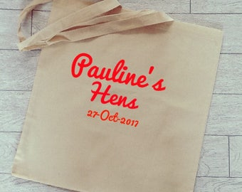 Hen party personalised tote bags