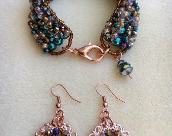 """7 1/2"""" Hand-beaded Bracelet and Earring Set"""