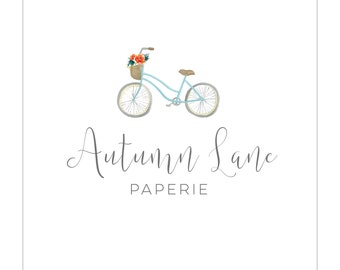 Pre-made Logo Design | Watercolor Logo | Photography Logo | Watermark | Floral Logo | Branding Package | Business Branding | Bicycle Logo
