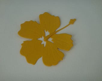 Cut for scrapbooking and card dark yellow hibiscus