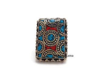 Mosaic Coral / Turquoise Statement Ring