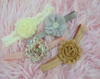 Headband Set of 4, shabby chic baby headband set , vintage headband, baby shower gift, infant headband, baby hair bows