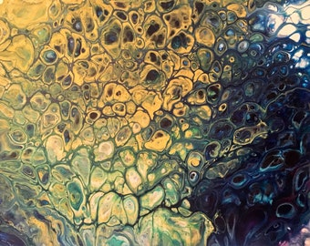 Acrylic Pouring Original Painting on Canvas Midnight Bloom