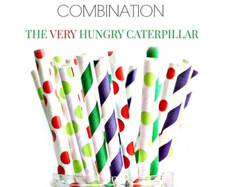 The Very Hungry Caterpillar Paper Straws, Striped paper straws, birthday paper straws, red paper straws green paper straws, 25 psc