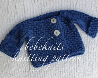 Bebeknits Simple French Style Lightweight Baby Cardigan Knitting Pattern