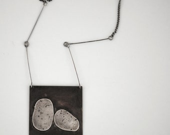 Farm series. Potatoes. Very long sterling silver and copper necklace. Statement necklace. Unique jewellery.